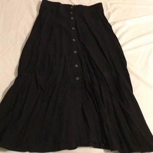 Midi black button up skirt